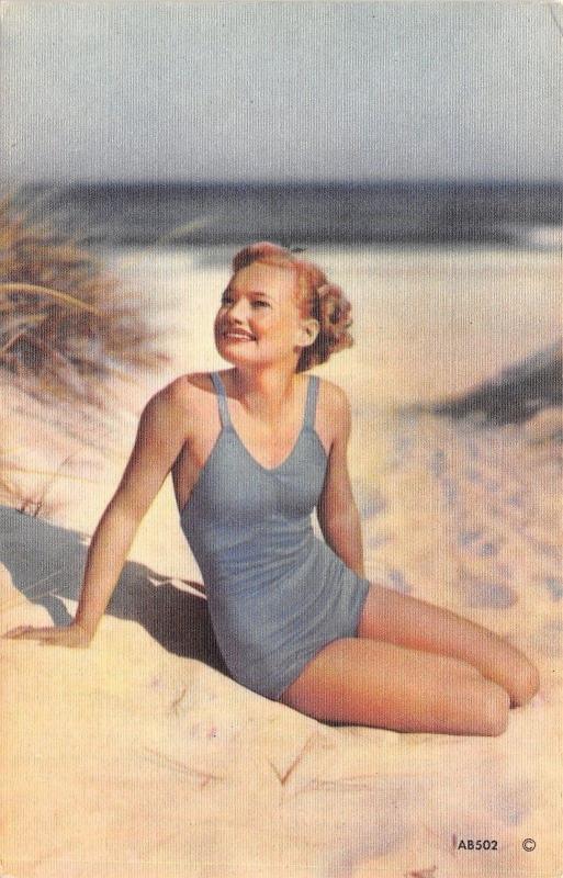 Bathing Beauty In Blue Suit on Sandy Beach~Face to Sun~1940s Linen Postcard
