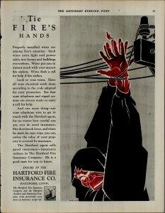 1927 Hartford Fire Insurance Tie Fires Hands Vintage Print Ad 3902