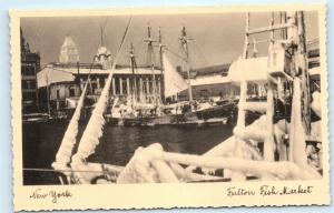New York City Fulton Fish Market Boats NYC Vintage Arthur Jaffe Postcard C21