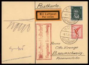 Germany 1928 Koehl von Hunefeld Autograph 1st Transatlantic Flight Blue Ma 78013