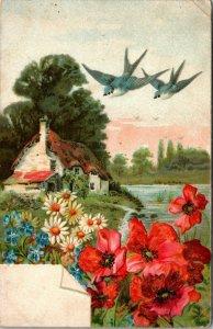 FLOWERS - BIRDS - LAKE - HOUSE - COTTAGE - UNPOSTED - Art Vintage Postcard