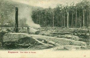 straits settlements, Malay Malaysia, PERAK, Tin Mine (1908) Postcard