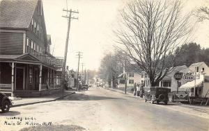 Milton NH Main Street Esso Gulf Texaco Gas Stations RPPC Real Photo Postcard