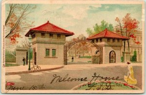 1904 ST. LOUIS, Missouri PMC Postcard Entrance to Westmoreland Place Tuck
