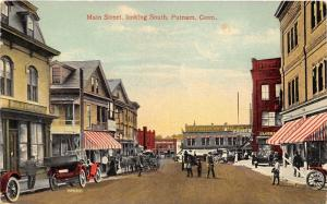 Putnam Connecticut~Busy Main Street Looking South~Storefronts~People~Car~1915 Pc