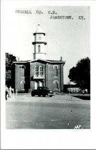 Vtg 1950s Kodak RPPC Russell County Court House Jamestown KY Street View w Cars