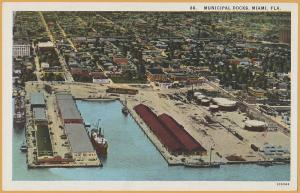 Miami, Florida - The commercial Docks, Steamships & Sailboats Unloading freight