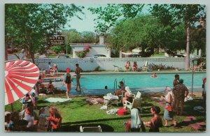 McAllen Texas~Casa De Palmas Hotel~Downtown~Pool~Bungalows~Sun Umbrella~Postcard