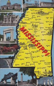 Map, Scenic Greetings form Mississippi, 30-40s