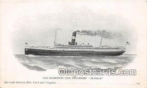 Old Dominion Line Steamship Monroe  Ship Postcard Post Card Postcard Post Car...