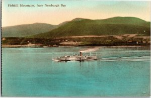 Fishkill Mountains from Newburgh Bay NY Hand Colored Vintage Postcard T37