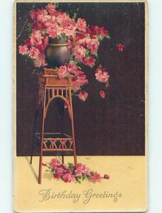 Pre-Linen BEAUTIFUL PINK FLOWERS IN FLOWERPOT ON ANTIQUE WOODEN STAND HJ4612