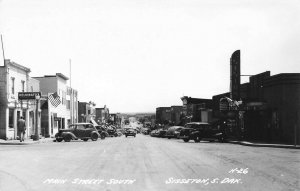 Sisseton SD Main Street South Movie Theatre Storefronts Old Cars RPPC