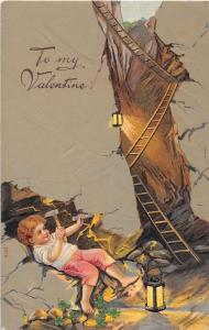 E36/ Valentine's Day Love Holiday Postcard c1910 Cave Lantern Ladder 9