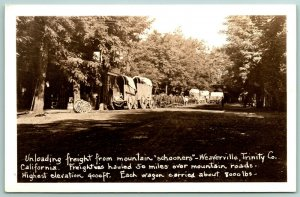 Weaverville CA~Conestoga Freight Train~Place to Unload After Journey RPPC c1950*