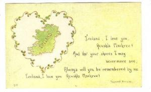 Map of Ireland in Clover heart w/poem, 00-10s