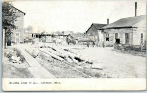 Alliance, Ohio Postcard Hauling Logs to Mill Horse Wagons Logging 1909 Cancel