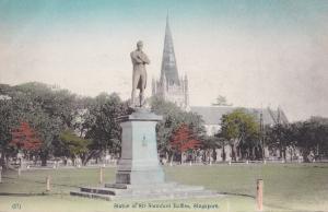 Sir Stamford Raffles Singapore Statue Antique Postcard