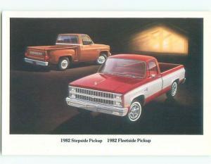 1982 Postcard Ad CHEVROLET STEPSIDE & FLEETSIDE PICKUP TRUCKS AC6176@
