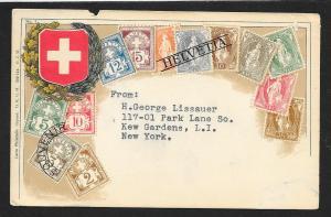 SWITZERLAND Stamps on Postcard Used c1910-1930