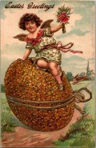 Easter cherub angel child gold wings nosegay bouquet huge gold flower eggÊ