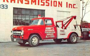 Cleveland OH Johnny's Automatic Transmission Tow Trucks Wreckers Postcard