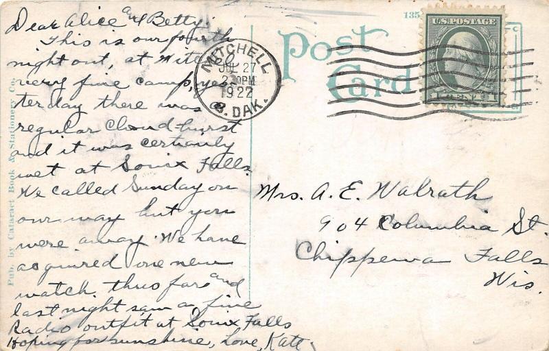 F13/ Sioux Falls South Dakota Postcard 1922 Bancroft School Autos