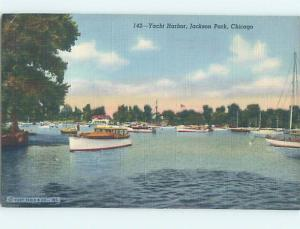 Linen YACHT HARBOR FOR BOATS Chicago Illinois IL hk7364
