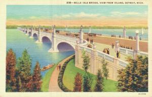 USA Belle Isle Bridge view from Island Detroit Linen 01.71