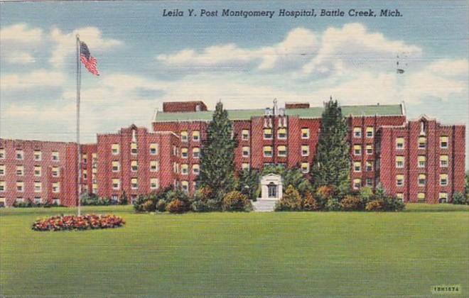 Michigan Battle Creek Leila Y Post Montgomery Hospital 1952 Curteich