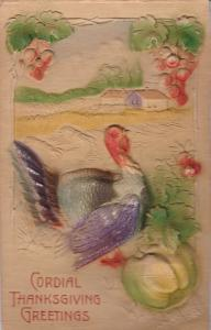 Embossed, THANKSGIVING; Cordial Greetings, Wild Turkey, Country scene, 00-10s