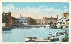 Glimpse Sewing Machine Pant River 1920s Postcard Orange Massachusetts 11789