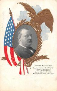 President Grover Cleveland Flag and Eagle Patriotic Antique Postcard J56669