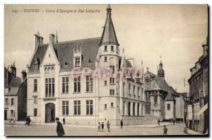 Old Postcard Bank Caisse d & # 39Epargne and Lafayette Street Nevers