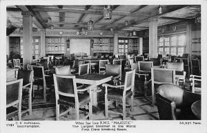 R.M.S.  Majestic  White Star Line  First Class Smoking Room RPC