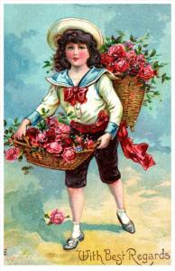 Birthday  Victorian  Girl  in  sailor suit, Baskets of pink roses
