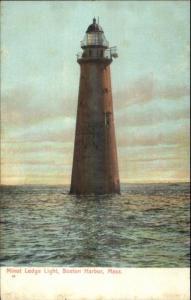 Boston MA Minot Ledge Lighthouse c1910 Postcard Version #9