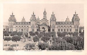 Spain Old Vintage Antique Post Card Palacio de Justicia Barcelona Unused