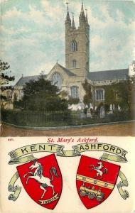 Ashford Kent England~St Mary's Ashford~Coat of Arms~Shield~1908 Postcard