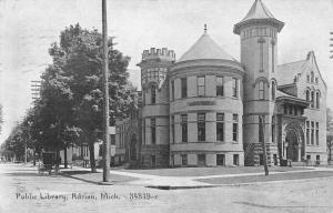 Adrian Michigan Public Library Exterior Street View Antique Postcard K19286
