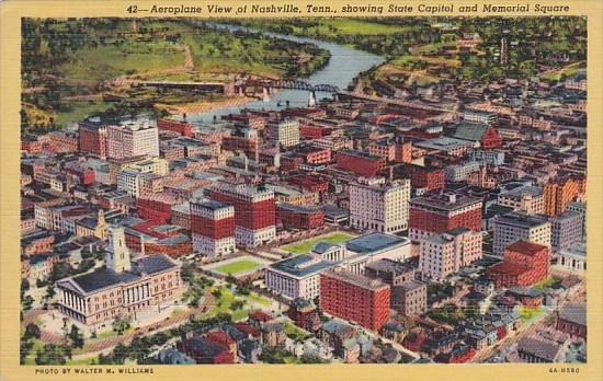 Tennessee Nashville Aeroplane View Of Nashville Showing State Capitol And Mem...