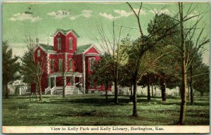 Burlington, Kansas Postcard View in Kelly Park, and KELLY LIBRARY 1909 Cancel