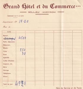 Grand Hotel Et Du Commerce Millau France 1955 Receipt