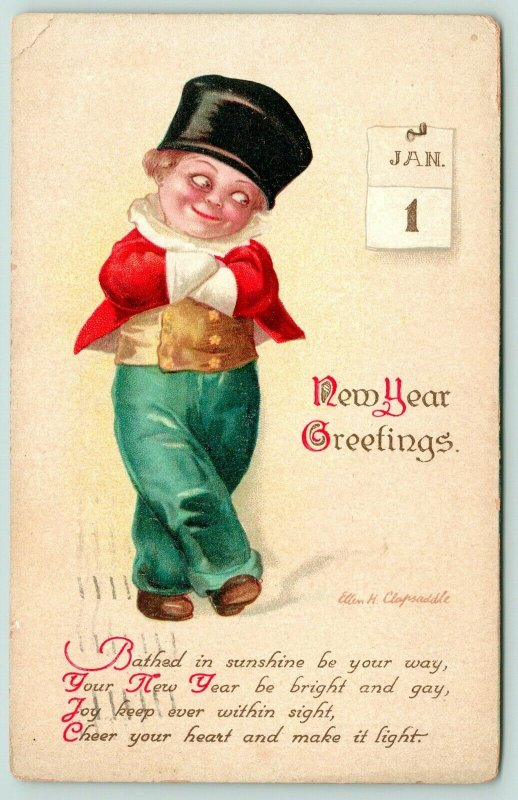 Ellen H Clapsaddle New Year~Boy Stands With Crossed Arms~Eyes Calendar~Embossed