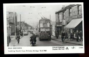 pp2468 - Tram heads to Pitlake Bridge, Croydon c1960 - Pamlin Postcard No.C1505
