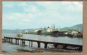 P1353 vintage unused postcard cago ships harbor docks port of spain trinidad