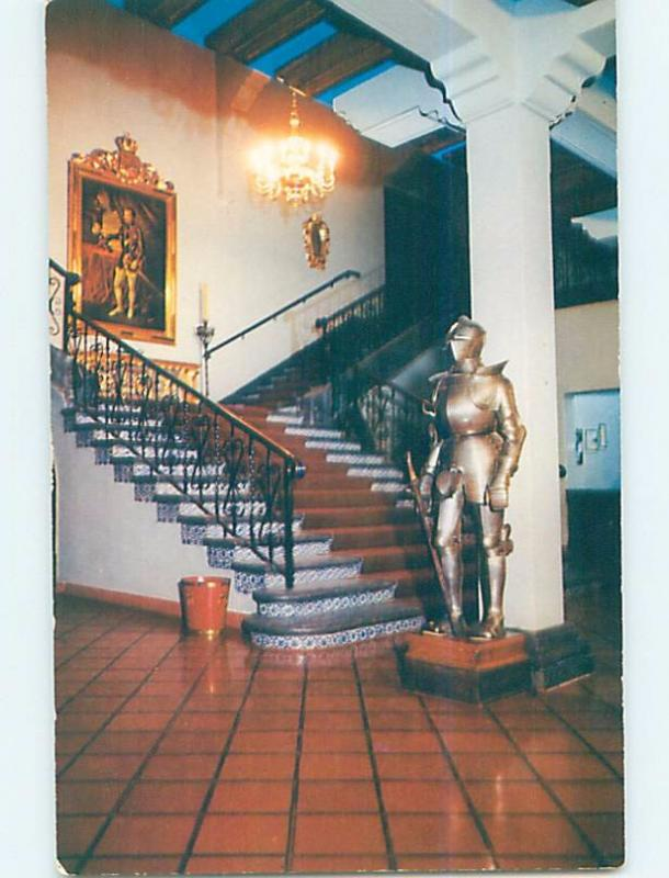 Pre-1980 POSTCARD OF KNIGHT SUIT OF ARMOR AT HOTEL Zimapan Hidalgo Mexico F6545