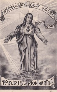 Jesus Christ at the feet of the sacred heart I prayed for you, PARIS, Montmar...