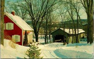 BEDELL SNOW COVERED BRIDGE NEAR HAVERHILL NEW HAMPSHIRE - NH postcard