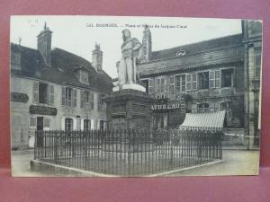 Old Postcard France Bourges Place Et Statue de Jacques Coeur